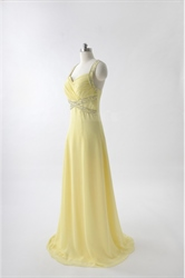 Sweetheart Long Chiffon Evening Dress, Chiffon Yellow Prom Dress