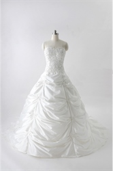 Ball Gown Wedding Dresses With Pickups, White Strapless Wedding Dress
