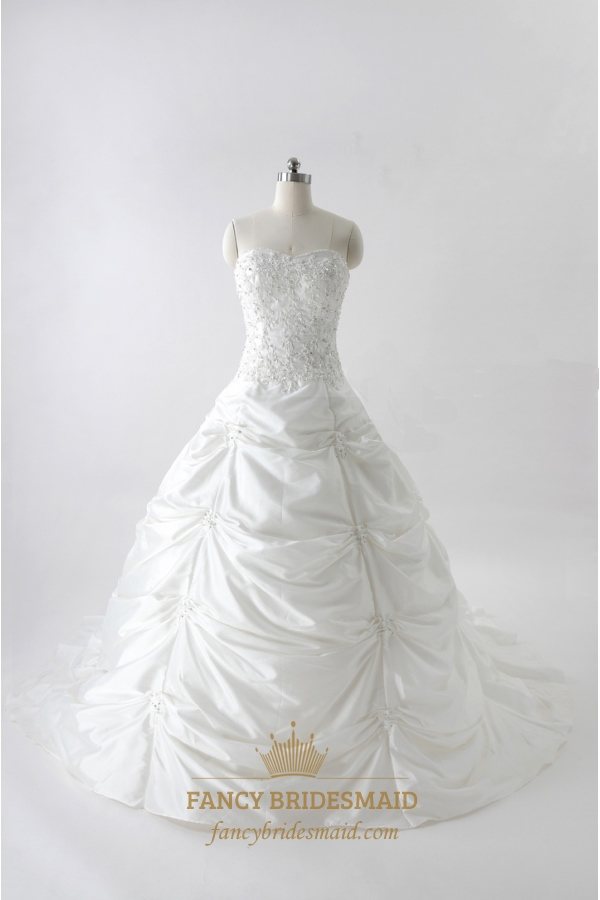 Ball Gown Wedding Dresses With Pickups White Strapless Dress