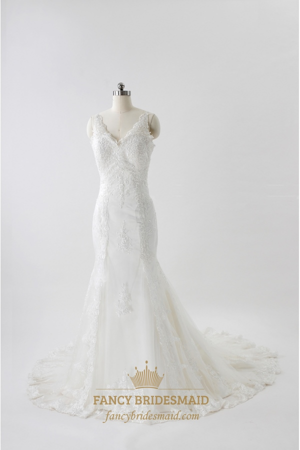 Beautiful V-Neck Wedding Dresses, Lace Wedding Dresses Vintage