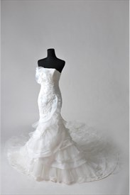 Wedding Dress With Chapel Train, Trumpet Mermaid Organza Wedding Dress