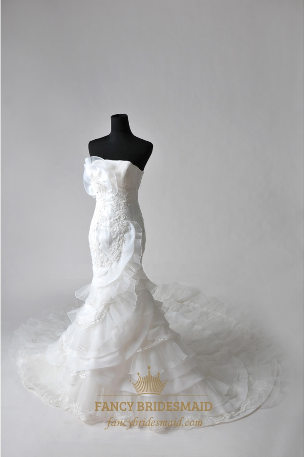 Wedding Dress With Chapel Train Trumpet Mermaid Organza
