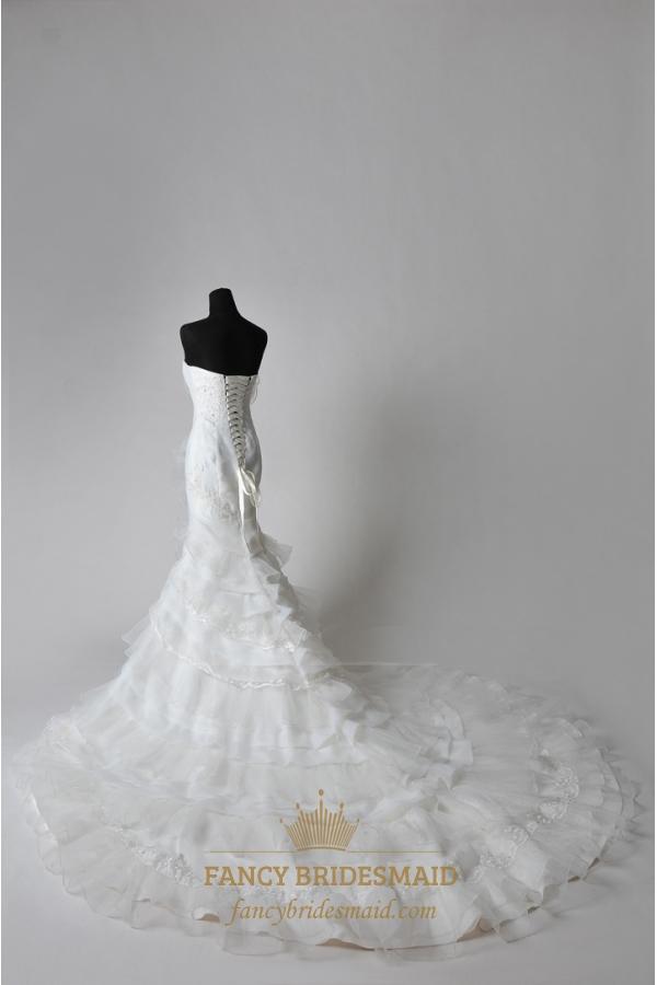 Wedding dress with chapel train trumpet mermaid organza for Organza trumpet wedding dress