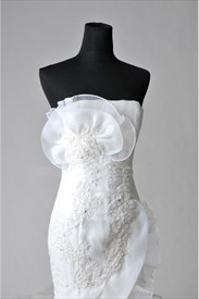 Wedding Dress With Chapel Train, Trumpet Mermaid Organza Wedding Dress