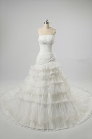 Strapless Ivory Wedding Dresses, Wedding Dresses With Chapel Train