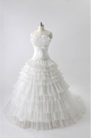 Organza Tiered Wedding Dresses, Wedding Dresses With Chapel Train