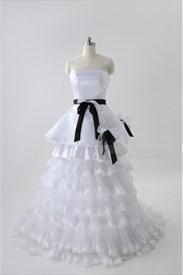 White Wedding Dresses With Black Sash, Strapless Tiered Wedding Dress