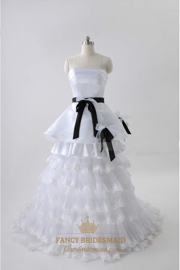 White Wedding Dresses With Black Sash Strapless Tiered Wedding