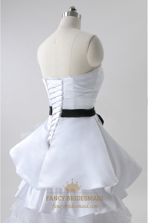 White Wedding Dresses With Black Sash Strapless Tiered