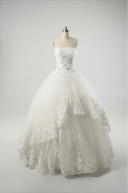 Ivory Ball Gown Wedding Dresses, Vintage Inspired Lace Wedding Dresses
