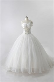 Organza Gathered Wedding Dress With Beaded Lace, White Wedding Dresses