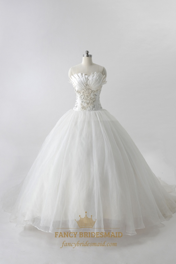 Organza gathered wedding dress with beaded lace white for Lace white wedding dress