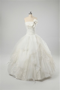 Ivory Lace Wedding Dresses, Strapless Wedding Dresses With Corset Back