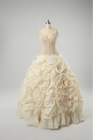 Champagne Wedding Dresses Plus Size, Sweetheart Organza Wedding Dress