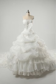 Strapless Wedding Dresses With Long Trains, Wedding Dresses With Bows