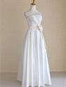 Ivory Wedding Dress With Champagne Sash, Ivory Strapless Wedding Dress