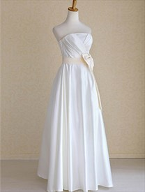 Ivory Wedding Dress With Champagne Sash, Ivory Strapless Wedding Dress