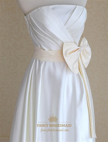 Ivory wedding dress with champagne sash ivory strapless for Ivory wedding dress sash