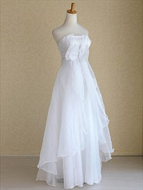 Strapless Organza Wedding Dresses, Empire Waist Organza Wedding Dress