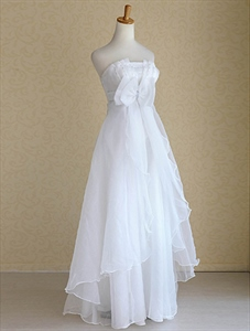 Strapless Organza Wedding Dresses, Empire Waist Organza Wedding Dress