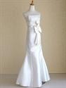 White Satin Mermaid Wedding Dress, Mermaid Wedding Dress With Bow