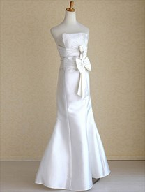 White Satin Mermaid Wedding Dress, Mermaid Wedding Dress With Bow