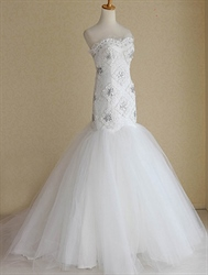 White Sweetheart Wedding Dress, Sweetheart Mermaid Wedding Dress 2013