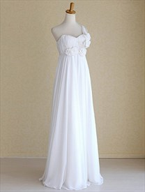 One Shoulder Wedding Dresses, Long White Sweetheart Chiffon Prom Dress