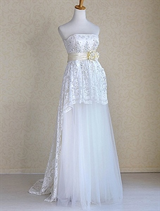 Strapless Lace Wedding Dress With Sash, Strapless Ivory Wedding Dress
