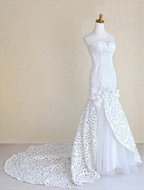 Ivory Satin Mermaid Wedding Dress, Sweetheart Mermaid Bridal Gowns