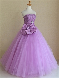 Strapless Ball Gown Wedding Dresses, Lavender Sweet Sixteen Dresses