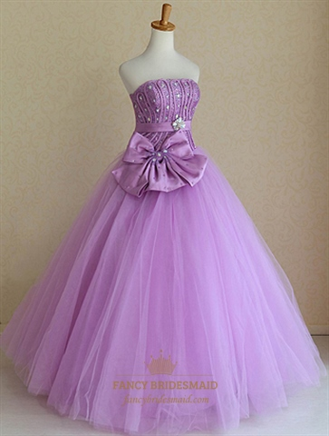 Strapless Ball Gown Wedding Dresses, Lavender Sweet Sixteen Dresses ...