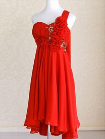 One Shoulder Chiffon Gown With Floral Appliques, Red Cocktail Dresses