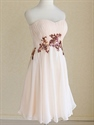 Short Peach Bridesmaid Dress, Short Chiffon Strapless Homecoming Dress
