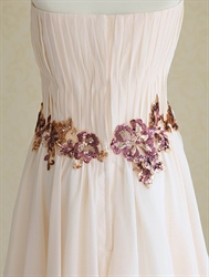 Short Peach Bridesmaid Dress, Short Chiffon Strapless Homecoming Dress