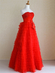 Red Tulle Wedding Dress, Tiered Ruffle Wedding Dress, Red Bridal Gowns