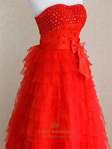 Red tulle wedding dress tiered ruffle wedding dress red for Tiered ruffle wedding dress