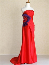Red Strapless Prom Dresses 2018, Red Prom Dresses With Train