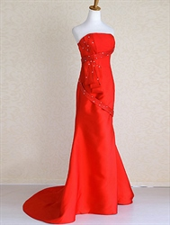 Red Mermaid Dresses For Prom, Red Strapless Sequin Long Dress