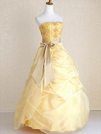 Yellow Military Ball Gowns, Wedding Dresses With Ribbon And Bows