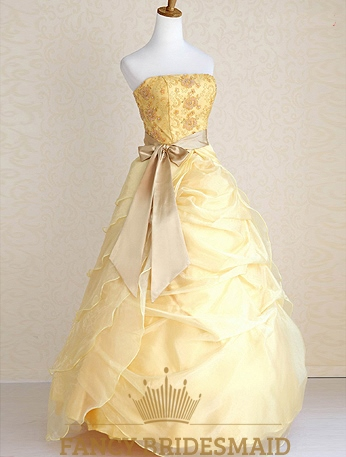 Yellow military ball gowns wedding dresses with ribbon for Free wedding dresses for military brides