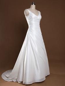 Ivory V Neck Wedding Dress, A-Line Wedding Dresses With Empire Waist