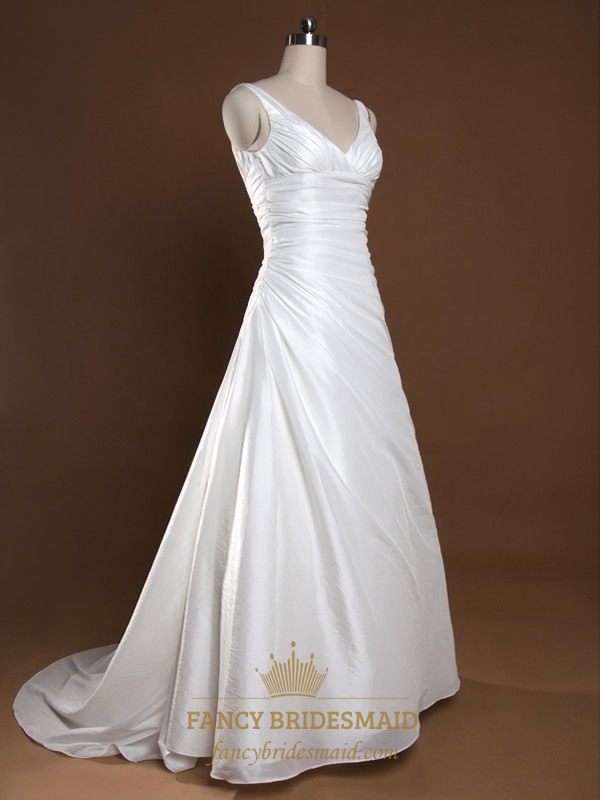 ivory v neck wedding dress a line wedding dresses with