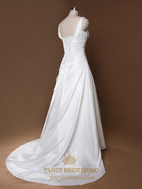 Ivory v neck wedding dress a line wedding dresses with for Ivory empire waist wedding dress