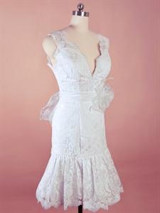 Short White Lace Wedding Dress, V Neck Lace Mermaid Wedding Dress