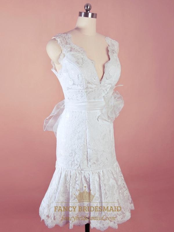 Short white lace wedding dress v neck lace mermaid for Mermaid v neck wedding dress