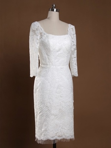 Short Lace Wedding Dress With Long Sleeves, Scoop Lace Wedding Dresses
