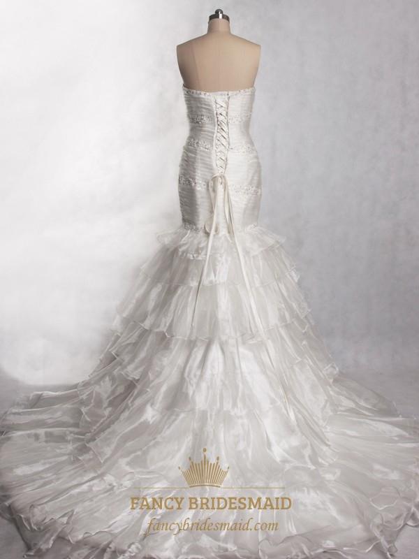 Trumpet mermaid organza wedding dress mermaid wedding for Organza trumpet wedding dress