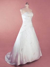 Simple White Satin Wedding Dress, A Line Strapless Wedding Gowns