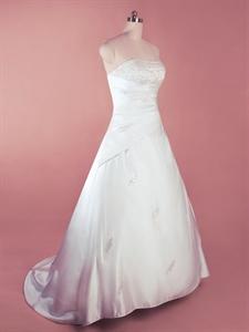 Simple White Satin Wedding Dress, A Line Strapless Wedding Gowns